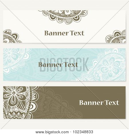 Set Of Banners For Business. Corporate Identity Vector Template With Doodles For Your Design.