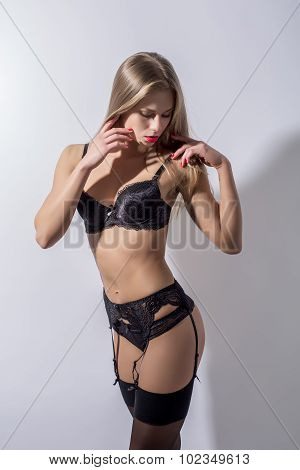 Model with perfect fit body wearing sexy lingerie