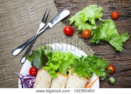 Fresh Whole Wheat Bread Wraps With Vegetables And Fruit On The Plate , Healthy And Clean Food Concep