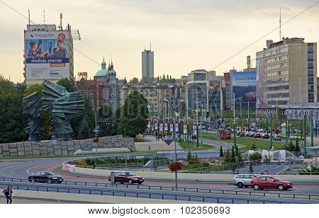 Katowice, Poland - September 18, 2015: View Of Downtown On 18 Se