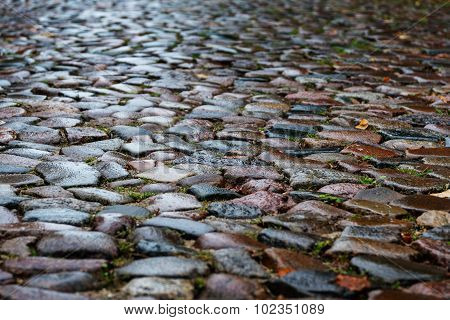 Wet Cobblestones In A Medieval Street, Background Texture