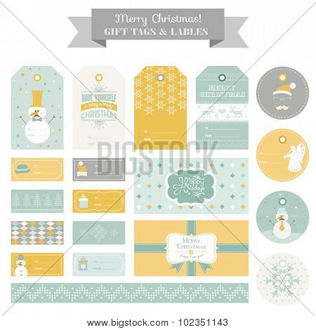 Christmas Retro Snowman Set - Tags, Labels, Cards, Banners - in vector