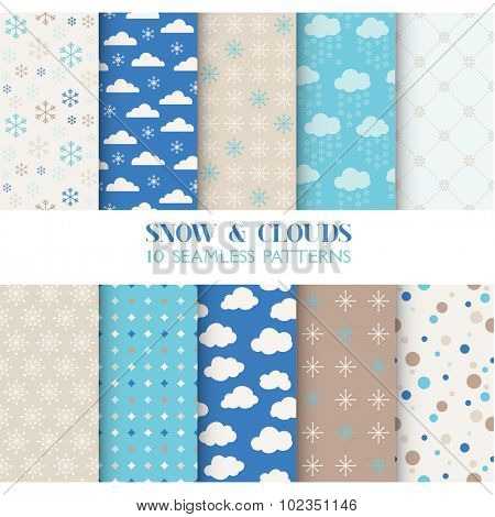 10 Seamless Patterns - Snow and Clouds - Texture for wallpaper, background, texture, scrapbook - in vector
