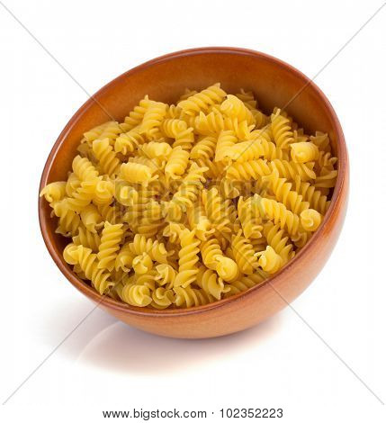 pasta fusilli isolated on white background