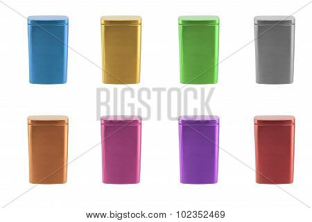 Collection of aluminum box isolated on white background.