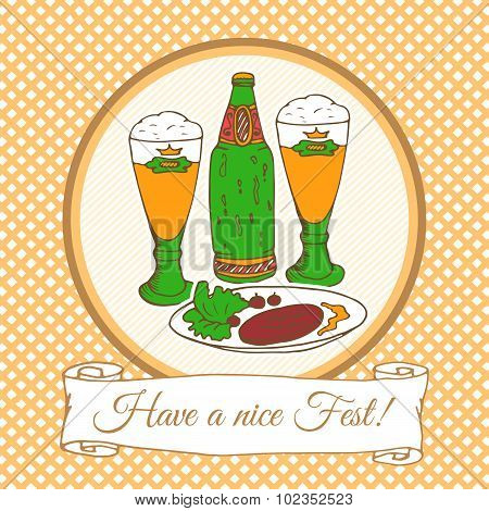 Beer festival vector card