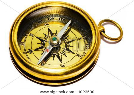 Old Style Gold Compass On White Background