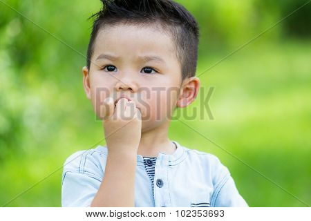 Asian baby boy eat with finger food