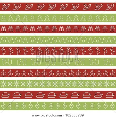 Christmas seamless borders for holiday design