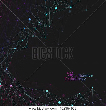 Geometric background molecule and communication for your design. Vector illustration