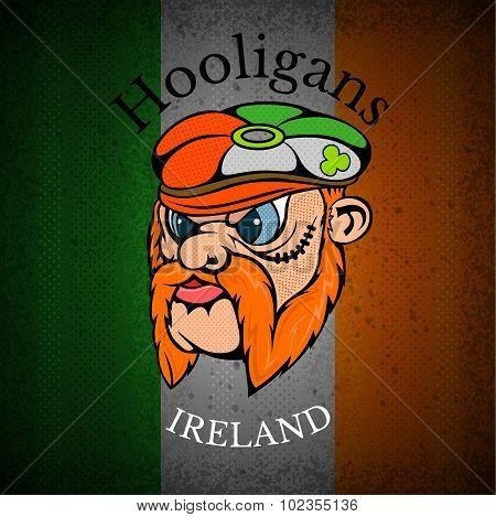 red whiskers head of Irishman in cap on Irish flag grunge background.print street hooligans style