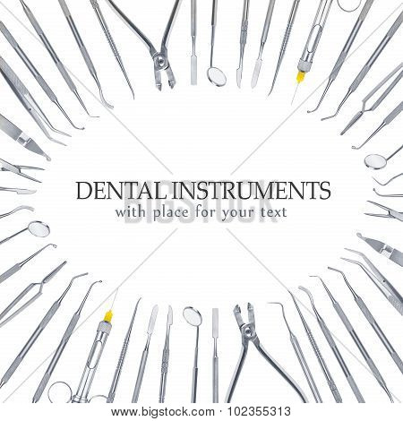 Background Of Dental Tools Isolated On White