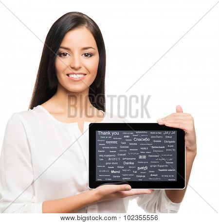 Business woman with a tablet computer. Different world languages concept.