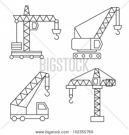 Construction icons. Cranes. Thin Line vector elements.