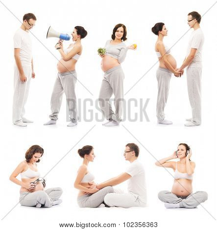 Young family expecting a baby. Pregnant mother and loving father (collection)