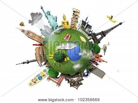 Small planet with landmarks