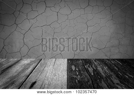 wood floor and cement wall background.