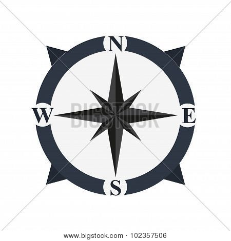Retro compass icon in flat style on a white background