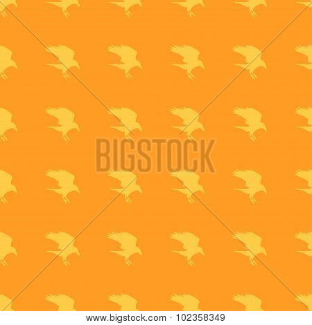 Pattern orange background Halloween raven