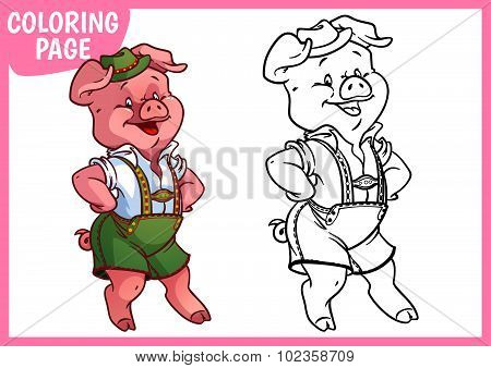Coloring Page. Funny Pink Pig In The Bavarian Shorts.