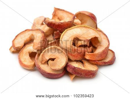Dried apple chips isolated on white