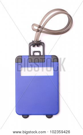 Top view of blue plastic luggage tag isolated on white
