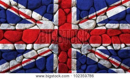 Flag of United Kingdom, Great Britain, British Flag painted on stone.