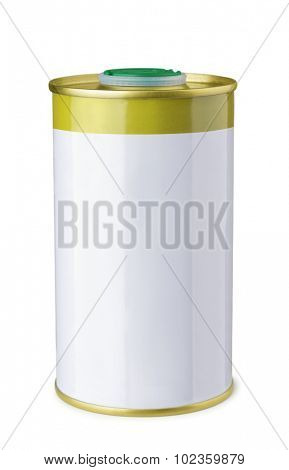 Olive oil tin can isolated on white