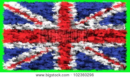 Flag of United Kingdom, Great Britain, British Flag made from clouds.