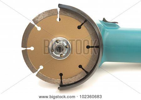 Closeup of angle grinder blade