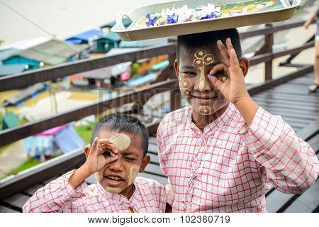Sangklaburi, Thailand - September 18,2015: Unidentified Young Asian Boy With Thanaka Powder On Face