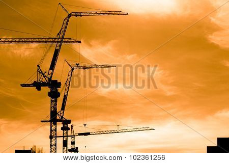 Construction Workers On Scaffold