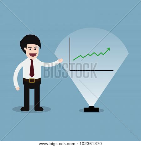 Stock Raise Up With Business Man Presentation And Graph