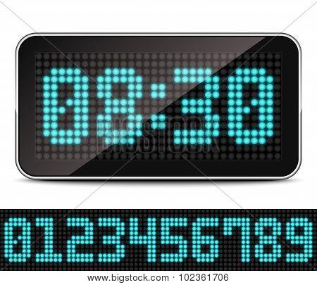 Digital Led Clock, Vector