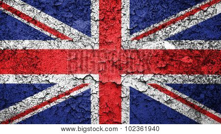 Flag of United Kingdom, Great Britain, British Flag painted on cracked paint.