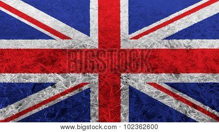 Flag of United Kingdom, Great Britain, British Flag painted on ice texture.