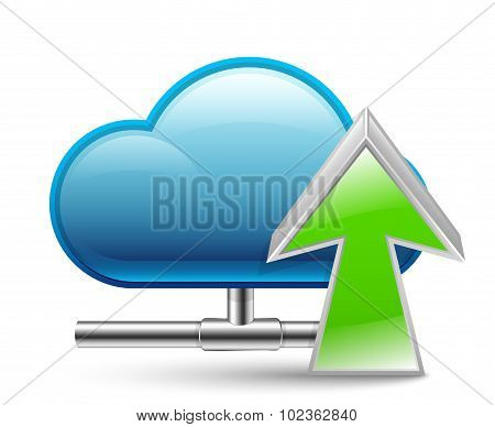 Cloud Upload Icon. Vector Illustration