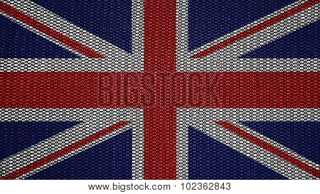 Flag of United Kingdom, Great Britain, British Flag painted on stitch texture.