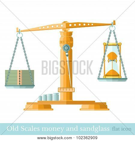 scaleswith money and sandglass on different scalepans