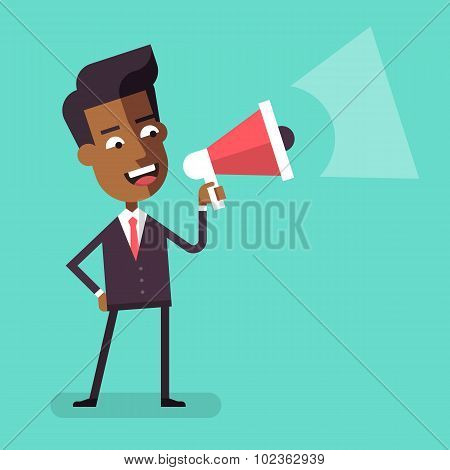 African american businessman with megaphone Vector