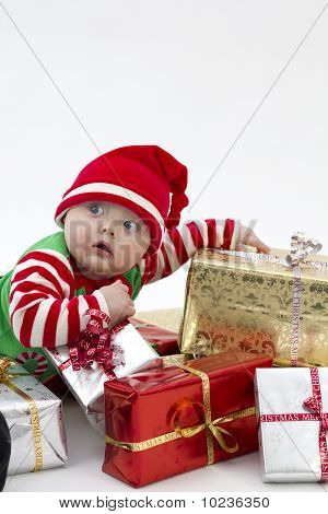 Festive Baby On Presents