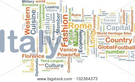 Background concept wordcloud illustration of Italy