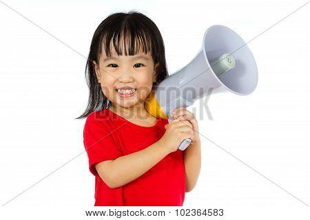 Asian Chinese Little Girl Holding Megaphone