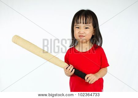 Chinese Little Girl Holding Baseball Bat With Angry Expression