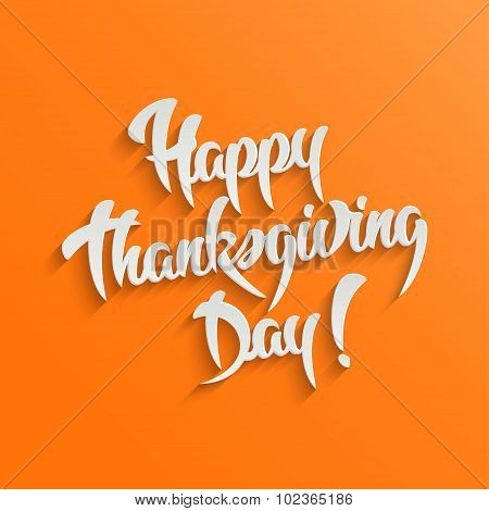 Happy Thanksgiving Day 3d Calligraphic Text with Shadow