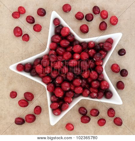 Cranberry fruit in a star shaped porcelain dish over speckled paper background.