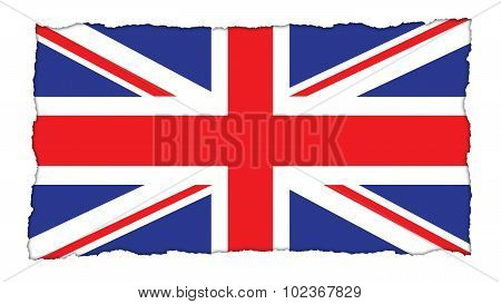 Flag of United Kingdom, Great Britain, British Flag painted on paper texture