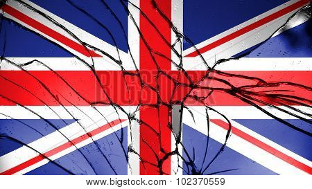 Flag of United Kingdom, Great Britain, British Flag painted on broken glass