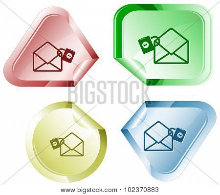open mail with lock. Vector sticker.