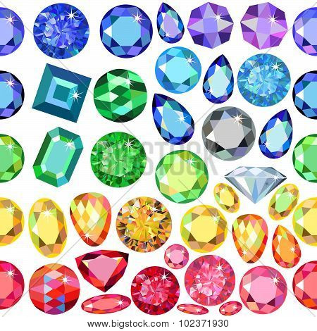Seamless scattered borders of gems, rhinestones